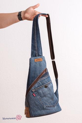 Makerist - Upcycling pur: Crossback aus Jeanshose und Pyjama - Nähprojekte - 1