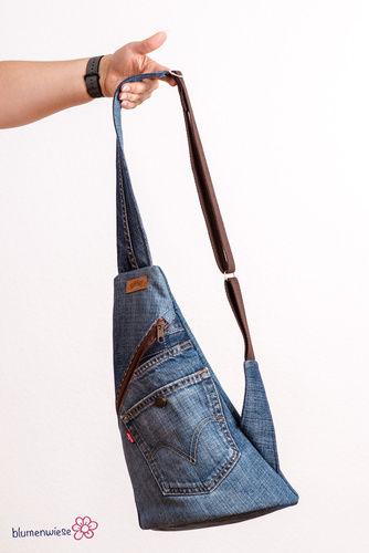 Makerist - Upcycling pur: Crossback aus Jeanshose und Pyjama - Nähprojekte - 2