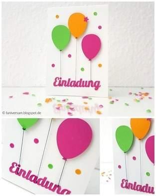 DIY: Einladungskarte mit bunten Luftballons