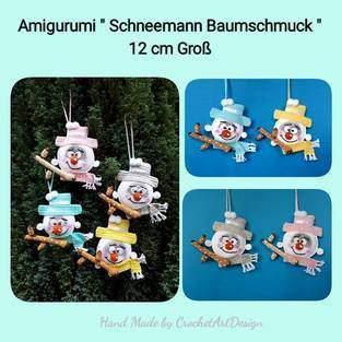 """Anleitung Amigurumi """" Schnemann Baumschmuck """" 12 cm Groß"""