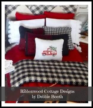 Rustic Christmas Dollhouse Bedding - Pretty bedding for a seasonal look in a dollhouse