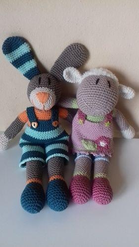 Makerist - Hase Tom und Lamm Annie. Es wird ein Ostergeschenk für meine Enkel. - Häkelprojekte - 1