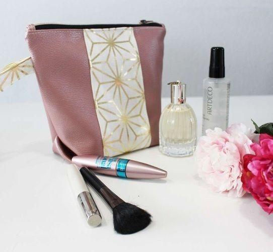 Makerist - Taschenset aus rosefarbenem Kunstleder und Canvas mit Goldakzenten - Nähprojekte - 3