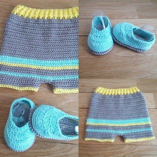Makerist - Ensemble short chaussons 0/3 mois - Créations de crochet - 1