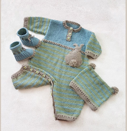 Makerist - DK - Bunnykids Playsuit Booties and Beanie Set - 3 to 36 months - Knitting Showcase - 1