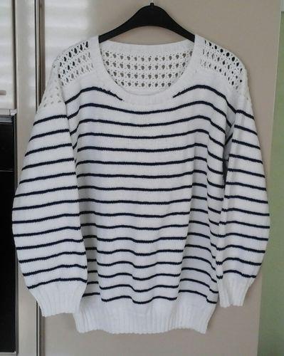 Makerist - Pull rayé  avec empiècement au crochet - Créations de tricot - 1