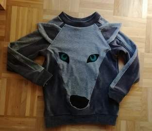 Upcycling Pulli Gr. 116 Wolf
