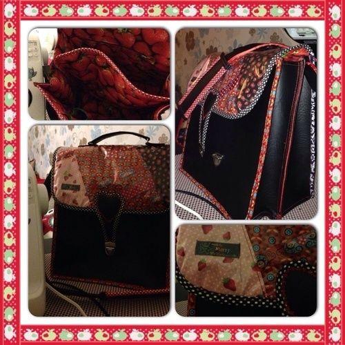 "Makerist - ""Erdbeerchen"" - Tolle Handtasche aus Kunstleder u anderen Elementen  - Nähprojekte - 1"