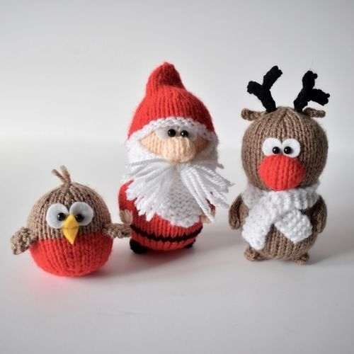 Makerist - Santa Rudolph and Robin - Knitting Showcase - 2