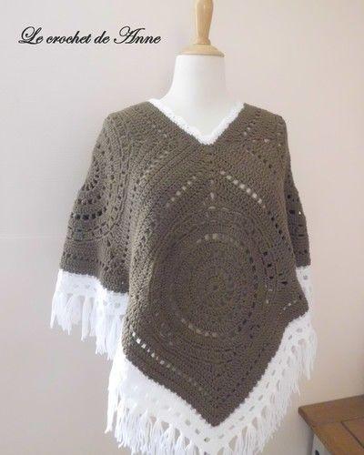 Makerist - PONCHO  marron taupe , style boho hippie aux jolis carrés géants granny !  - Créations de crochet - 3