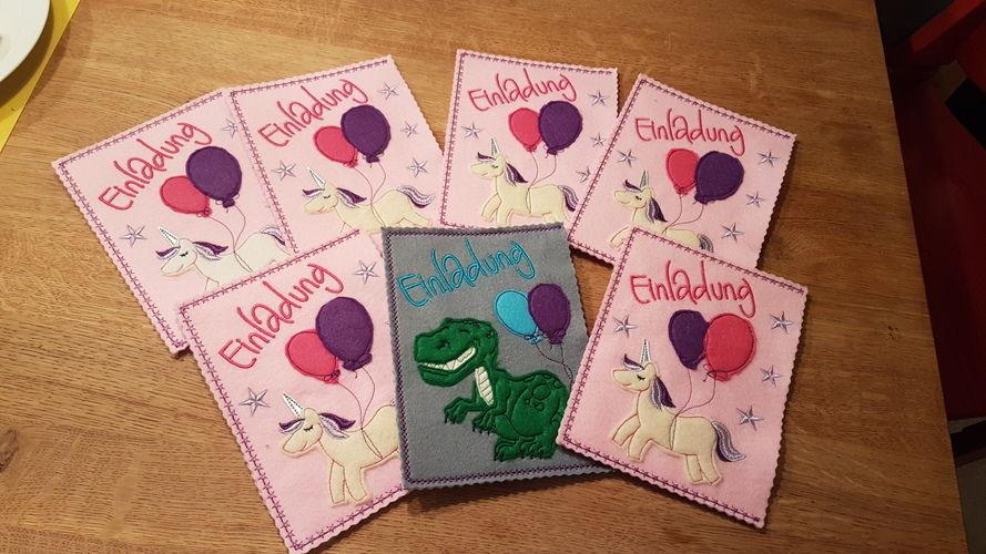 Makerist - Einladungskarten Kindergeburtstag  - Textilgestaltung - 1