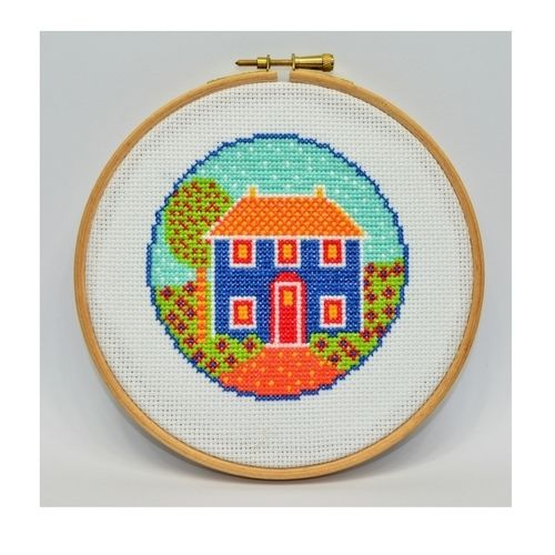 Makerist - Folk Art Cottage Counted Cross Stitch Pattern - Sewing Showcase - 1