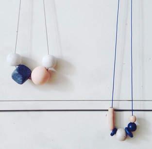 Geometrische Perlenkette aus FIMO