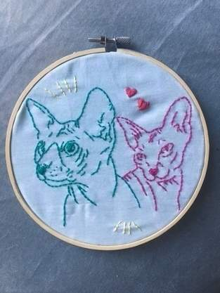 Stickerei Sphinx-Katzen