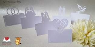 Makerist - Platzkärtchen Brautpaar, Taube, Ringe und Herz - 1
