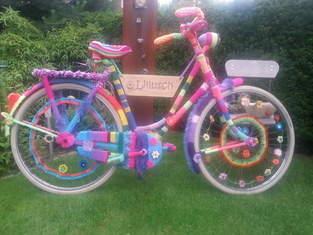 Eingestricktes Fahrrad, Wolle