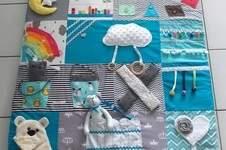 Makerist - Tapis d'éveil pour bébés. J'ai utilisé des carrés de coton et les chutes de tissus.  - 1