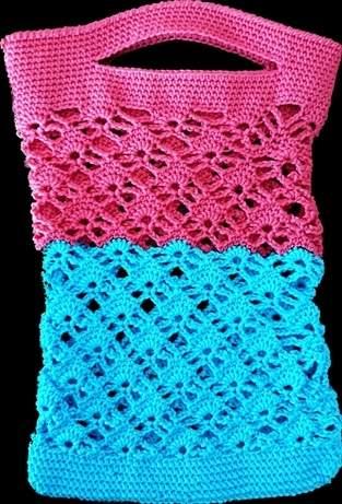 Makerist - Kleines Einkaufnetz in pink und blau - 1