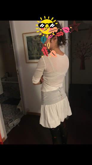 Elfique , création pour un anniversaire, première fois en couture, du jersey en dentelle et une couverture toute douce,
