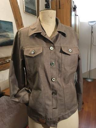 Jeansjacke, upcycling aus gefärbtem Vorhang