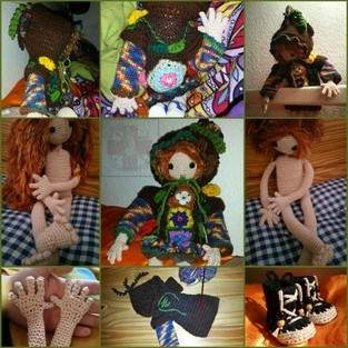 Makerist - Häkelpuppe Laika mit Zipfelkapuzen-FlowerPower-Kleid und Dr.Martens-Boots, für meine 3.Tochter C.D.S. - 1