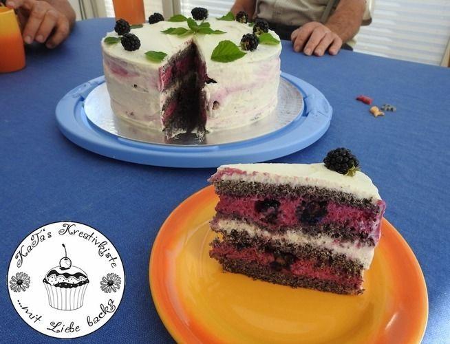 Makerist - Mohntorte mit Brombeer-Joghurtsahne - Torten, Cake Pops und Cupcakes - 1