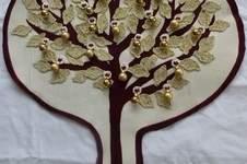 Makerist - Adventsbaum in weißgold gehäkelte Blätter, aufgenähter Filzbaum auf Baumwolle - 1