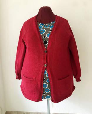 Makerist - Cardigan gestrickt aus dunkel roter Wolle - 1