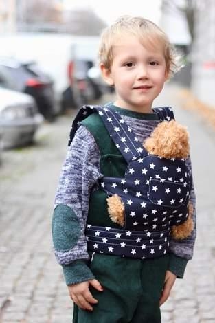 Puppentrage Feld mit Bindegurt und Fronttasche