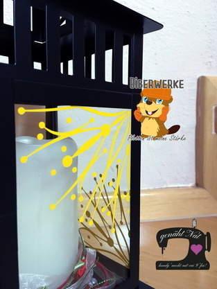 Makerist - Plottdatei Starflower von Biberwerke - zerschnitten und auf eine Laterne geklebt - 1