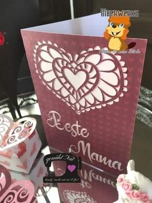 """Makerist - Grußkarte mit Herz und """"Beste Mama"""" von Biberwerke - 1"""