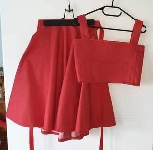 Makerist - Jupe corolle qui tourne en jean framboise - 1