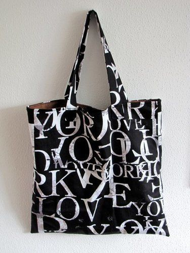 """Makerist - Einkaufstasche """"Buchstaben in Schokolade""""  - Nähprojekte - 1"""