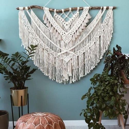Makerist -  Schöne große Makramee Wandbehang  / Home Decor / Handgemacht / große böhmische Hochzeit Hintergrund Dekoration für Wohnzimmer - DIY-Projekte - 1