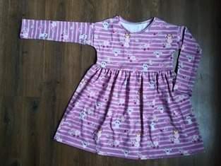 """Robe rayée en jersey rose et violet (""""Robe Tunique Miss"""" de chez Ly Dyi)"""