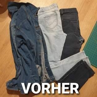 Jeansjacke #Elly aus 2 Jeanshosen und einer Jeansjacke