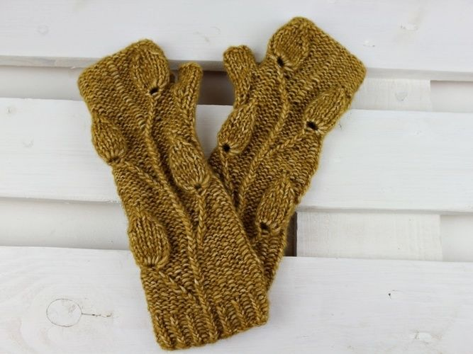 Makerist - Armstulpen Golden Leaves - Strickprojekte - 3