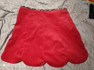 Jupe lipsi velours milleraies rouge