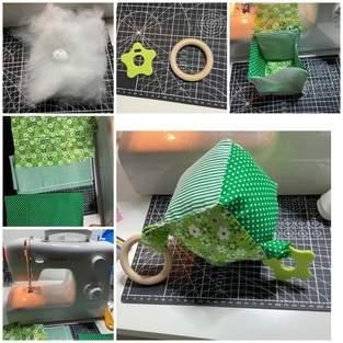 Makerist - Spielwürfel aus Baumwollstoff mit Beißring, Knisterfolie und kleine Glocke - 1