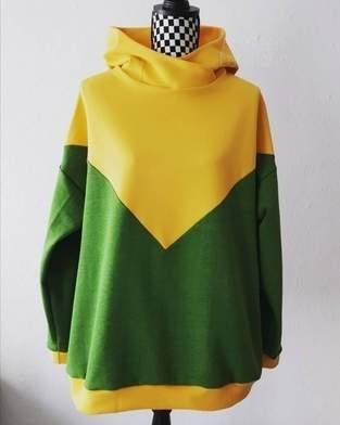 Hoodieliebe in grün und gelb, colorblocking
