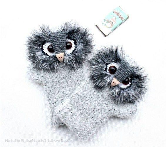 "Makerist - Handschuhe ""Uhu"" - Häkelprojekte - 1"