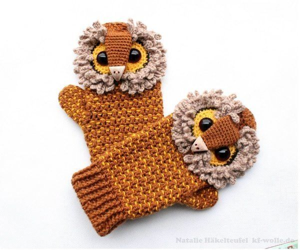 "Makerist - Handschuhe ""Uhu"" - Häkelprojekte - 2"