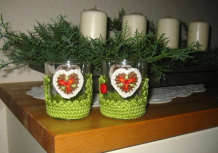 Makerist - weihnachtliches Teelichtglas mit Häkelapplikationen - Häkelprojekte - 1