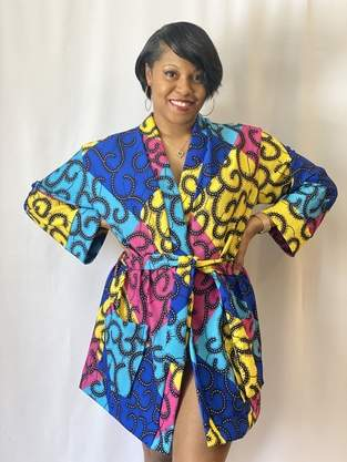 Makerist - Multicolored Ankara Print Lounge Robe - 1