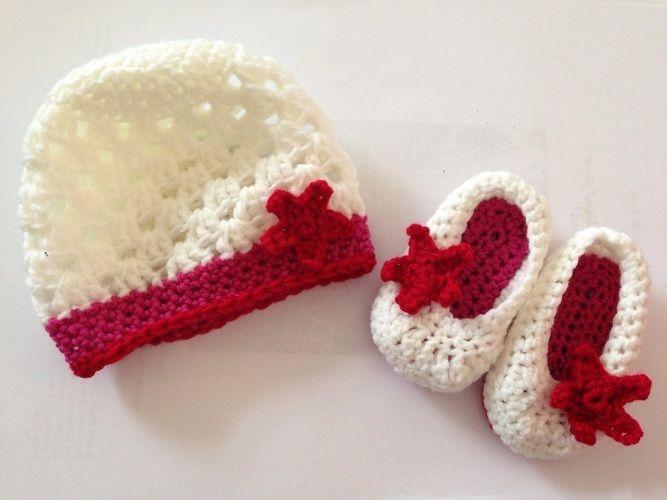 Makerist - Säuglingsschuh und Mützchen - Häkelprojekte - 1