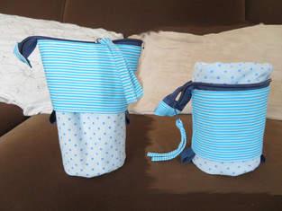 Stiftemäppchen Flexi-Susi blau weiß aus Baumwolle