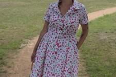 Makerist - Hemdblusenkleid Jean von Purpurnaht , ein Traum aus Baumwollpopeline mit Kirschendruck - 1