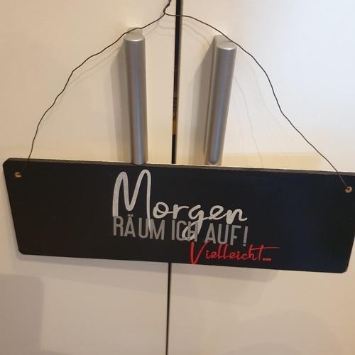 Makerist - Mein Holzschild mit Morgen räum ich auf - DIY-Projekte - 1