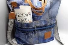 Makerist - OhMaggii, Shoppertasche aus Jeans Jeanscanvas und Kunstleder  - 1
