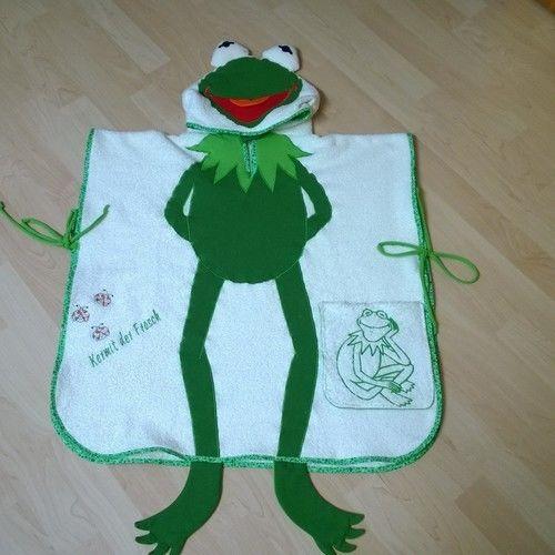 Makerist - Hier kommt Kermit der Frosch als Badeponcho - Nähprojekte - 1